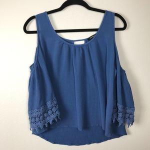 3/$20 Ambiance Blue Cold Shoulder Lace Top